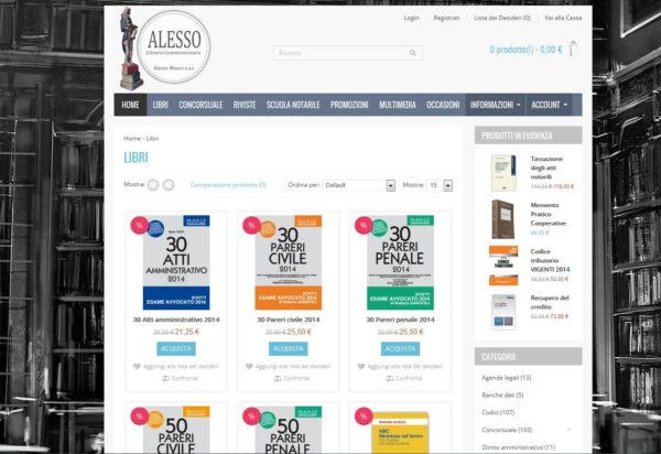 Ecommerce per Libreria Alesso Milano