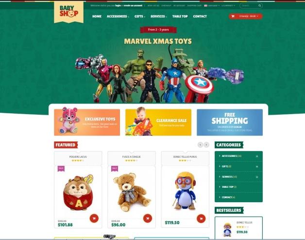 template e temi commerce per giochi  per bambini