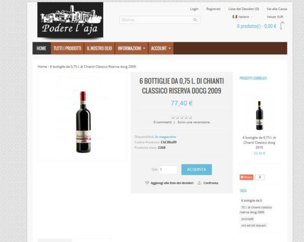 Podere l'Aja – Ecommerce Opencart Olio e Vino